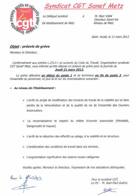Préavis de grève Sanef Metz du 21 mars 2013