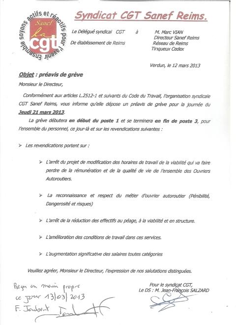 Préavis de grève Sanef Reims du 21 mars 2013.